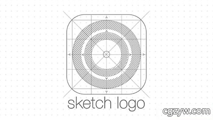 ae模板-简洁素描手绘图建筑公司logo展示