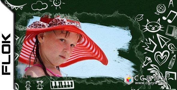 AE模板-大学教育黑板粉笔手绘涂鸦图片包装片头 Back To School 2 免费下载