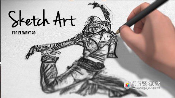 AE模板-三维素描铅笔手绘涂鸦人物照片展示 Pencil Sketch Art 免费下载