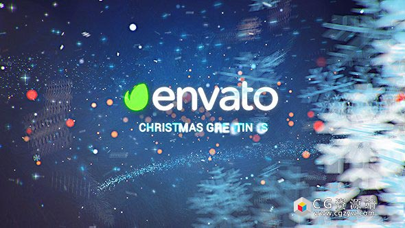 AE模板-魔法粒子雪花特效标志揭幕动画圣诞节祝福开场christmas-wishes-winter-opene
