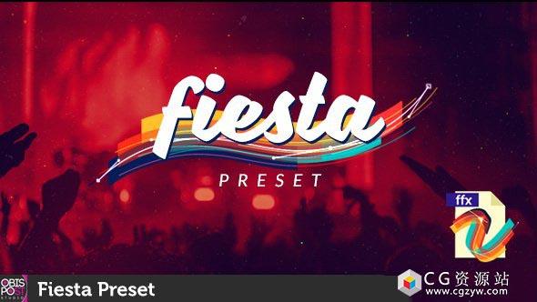 AE模板+预设-时尚图形动画包装设计过渡转场效果fiesta-preset