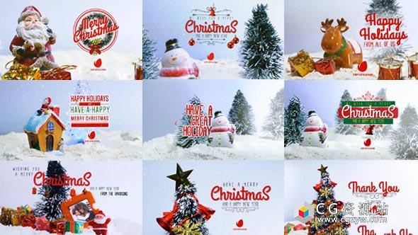 AE模板-10组圣诞节许愿祝福文字动画短视频10 Miniature Christmas Wishes 免费下载