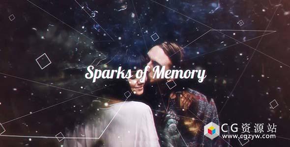 AE模板-现代粒子线条视差图片幻灯片动画 Sparks of Memory