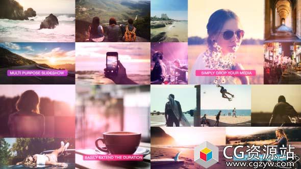 AE模板-动态幻灯片分屏图片视频包装 Dynamic Slideshow