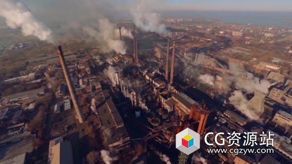大型化工厂烟囱废弃环境污染实拍视频素材 Factory Smoke
