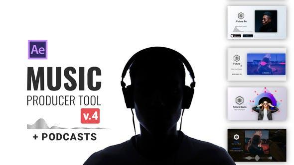 AE模板-音频可视化波形节奏跳动动态视频音乐制作工具V3