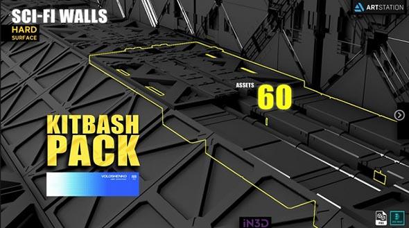 110个科幻军事围墙地板面板3D模型