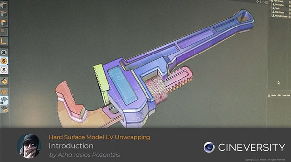 C4D S22和R23硬表面建模模型展UV教程